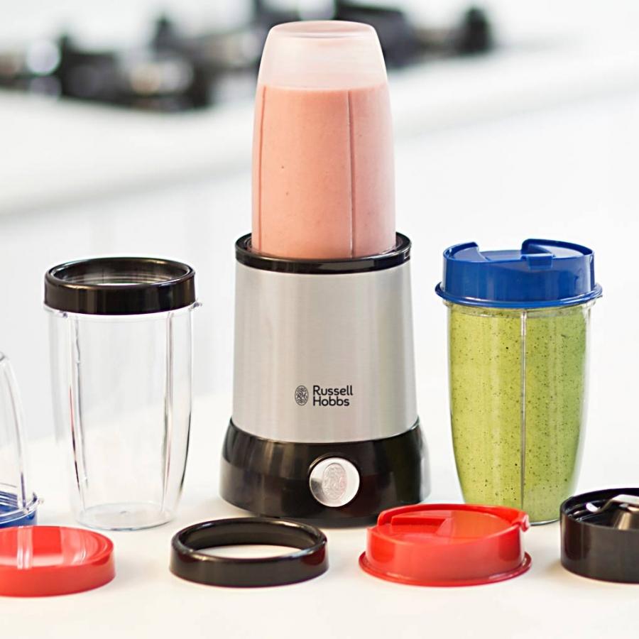 Блендер Russell Hobbs Nutri Boost 23180-56, комплект с много аксесоари и съдове, подходящи за различна обработка на хранителни продукти и пренос на приготвените храни.